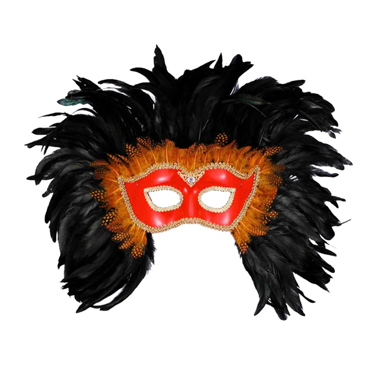 Mardi Gras Venetian Costume Eye Mask Red w/Black Feathers One Size