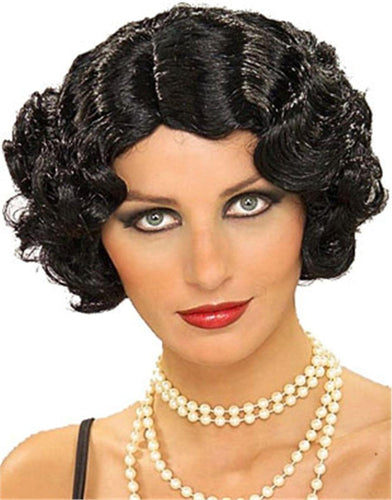 Flapper Curly Black Adult Costume Wig