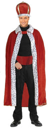 King Red Robe & Crown Costume Set Adult