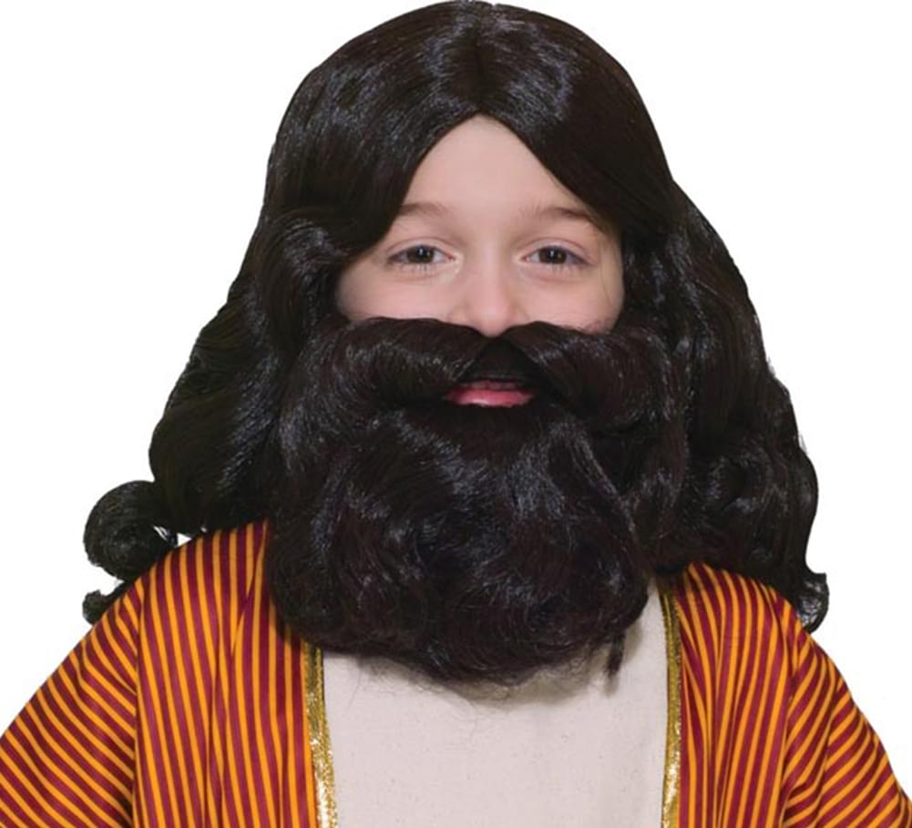 Biblical Times Moses Noah Wig & Moustache Costume Kit Child Standard