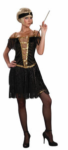 Roaring 20's Flapper Gold & Black Dress Costume Adult