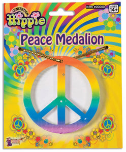 Hippie Rainbow Peace Medallion Necklace Costume Accessory