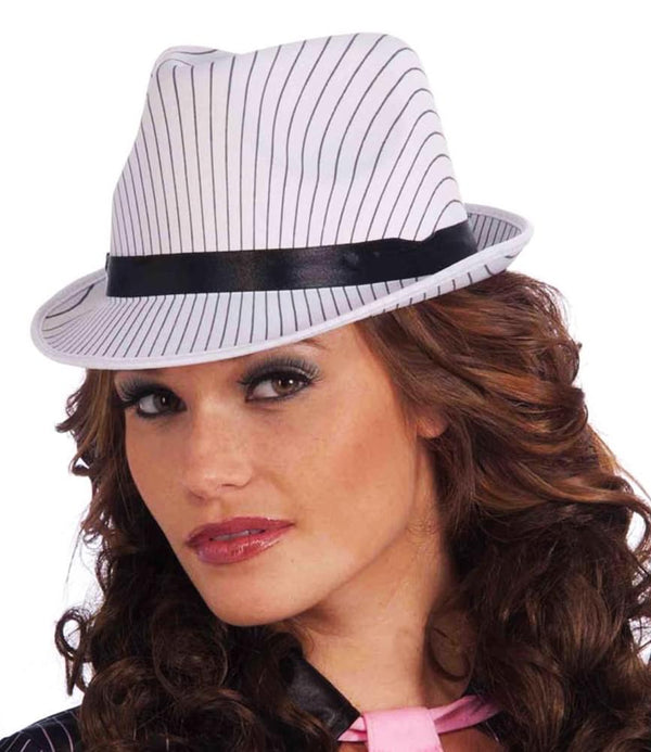 Ladies Adult Costume White Pinstripe Fedora Hat With Black Band