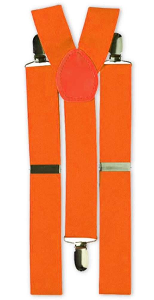 Neon Orange Adult Costume Suspenders