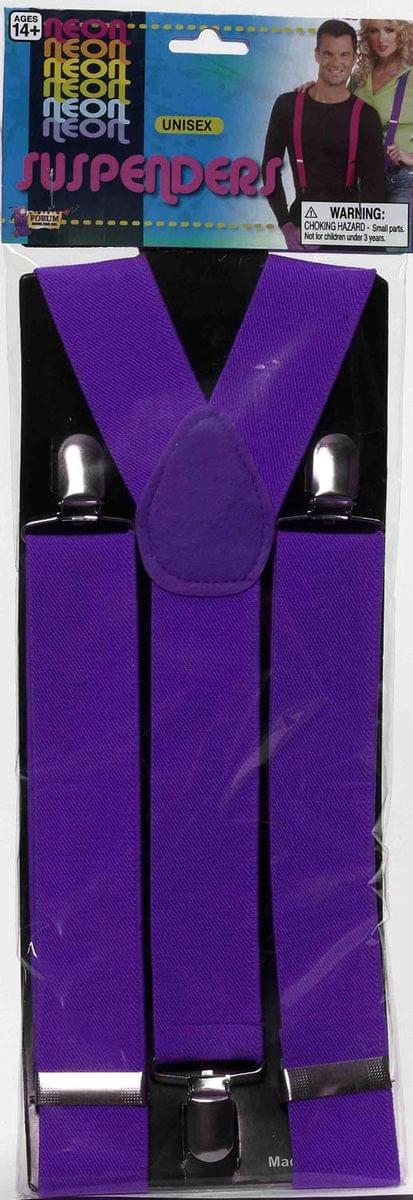 Neon Purple Adult Costume Suspenders