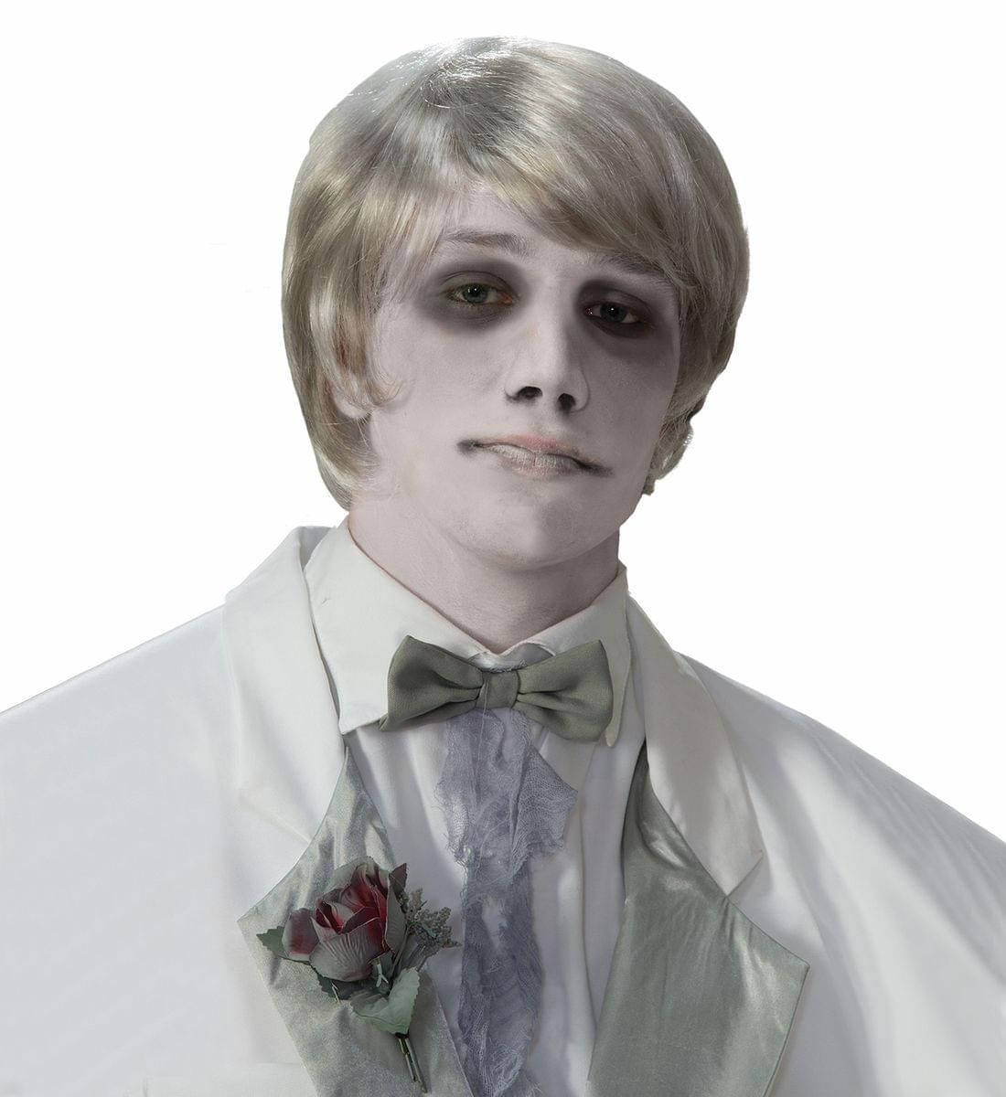 Ghostly Gentleman Grey/White Costume Wig Adult