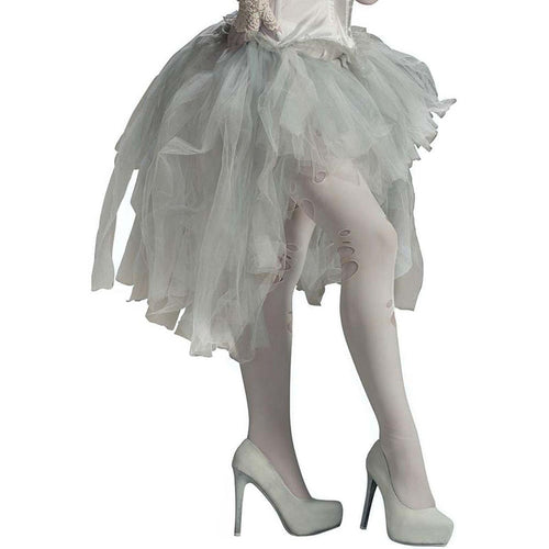 Ghost White Tattered Costume Tutu Adult