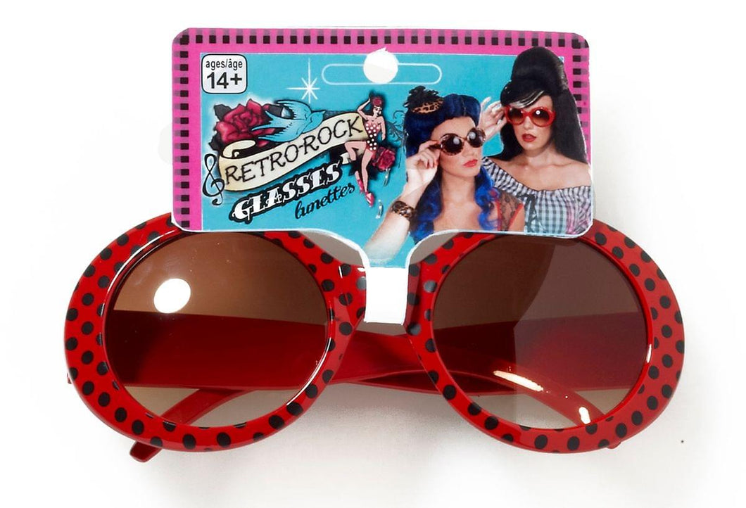 Retro Rock Red Polkadot Costume Sunglasses Adult