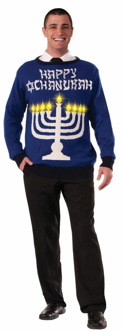 Hanukkah Adult Ugly Costume Sweater Light Up Menora