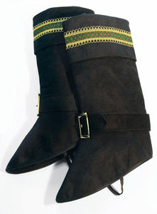 Santa Claus Deluxe Black Boot Top Covers One Size