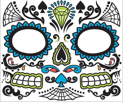 Day Of The Dead Face Tattoo Costume Accessory Adult Men