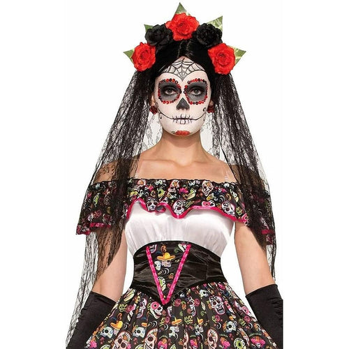 Day of the Dead Black Costume Veil