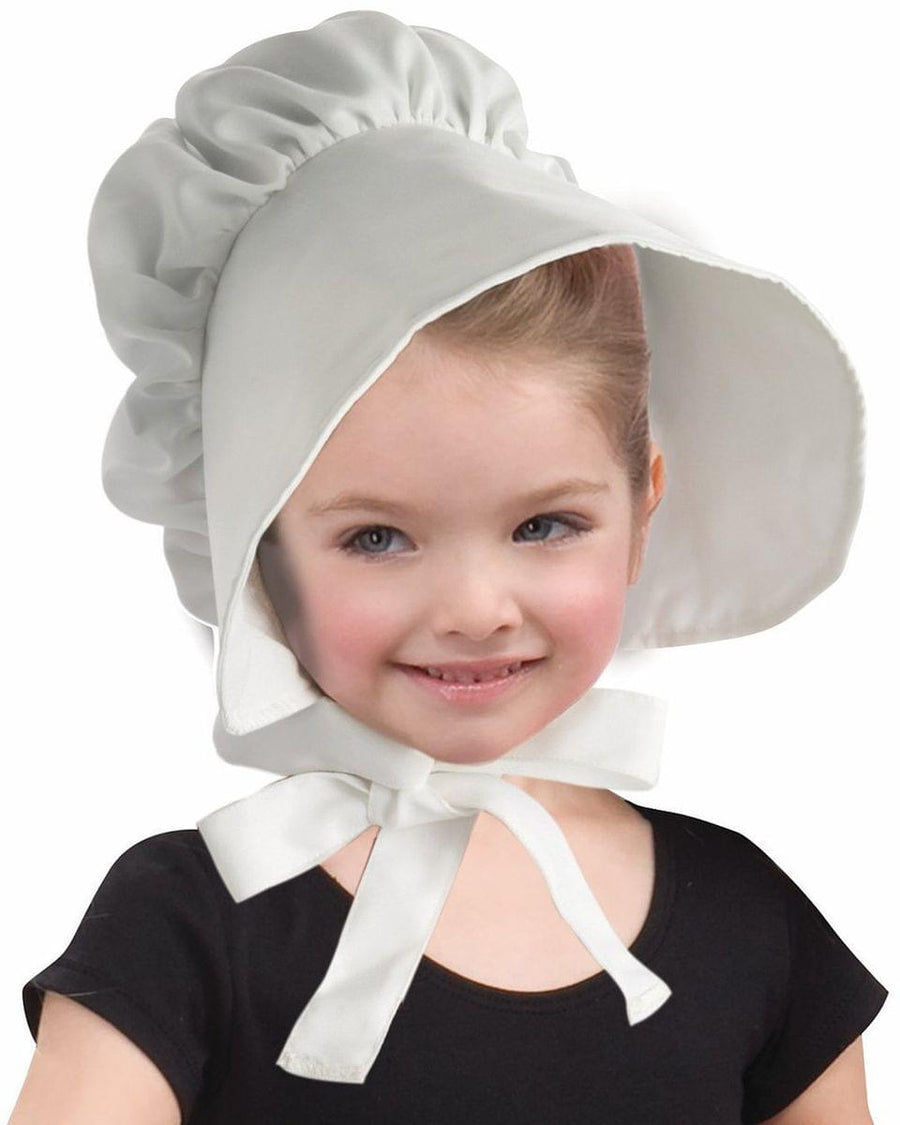 Colonial White Bonnet Child Hat