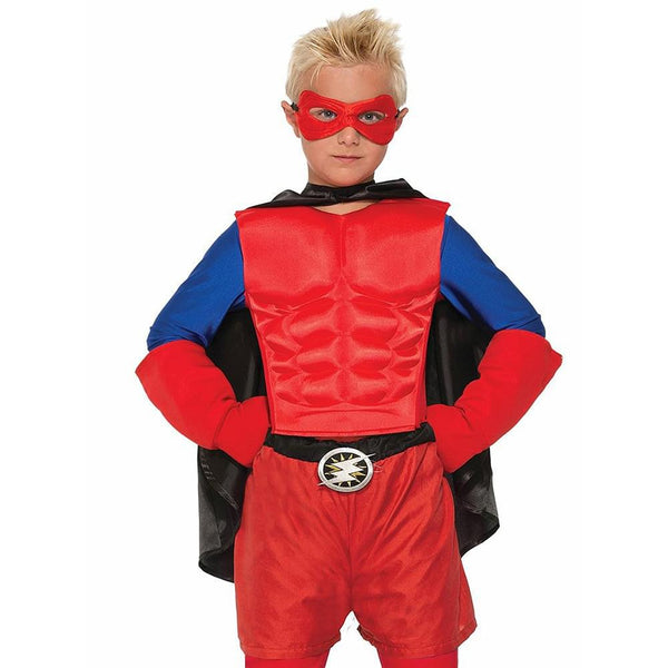 Superhero Red Costume Muscle Chest Child