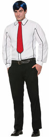 Black Outlined Costume Shirt With Tie Adult Men