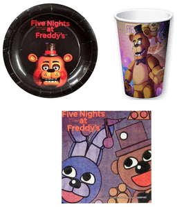 Five Nights At Freddy's Paper Cups, Plates, Napkins Set