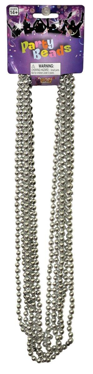 "Beaded 33"" Necklace Adult Costume Jewelry, Silver"