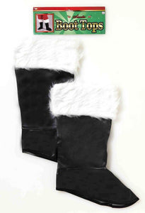 Santa Costume Boot Tops With Faux Fur Trim Adult