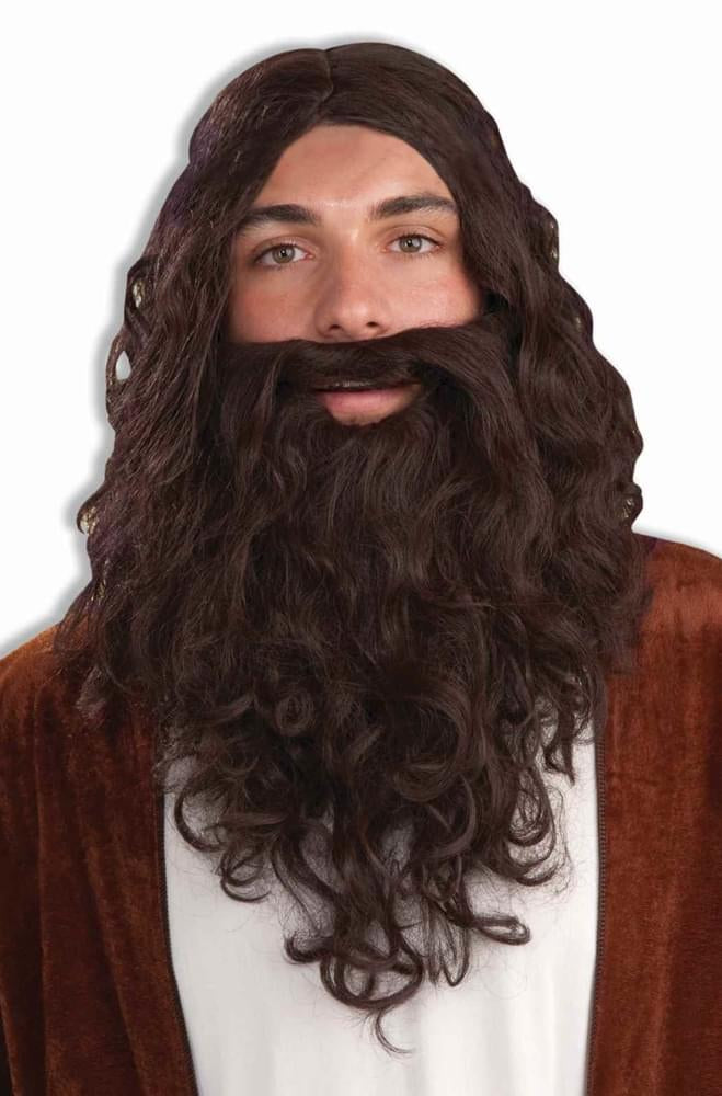Biblical Wig & Beard Costume Accessory Set: Brown