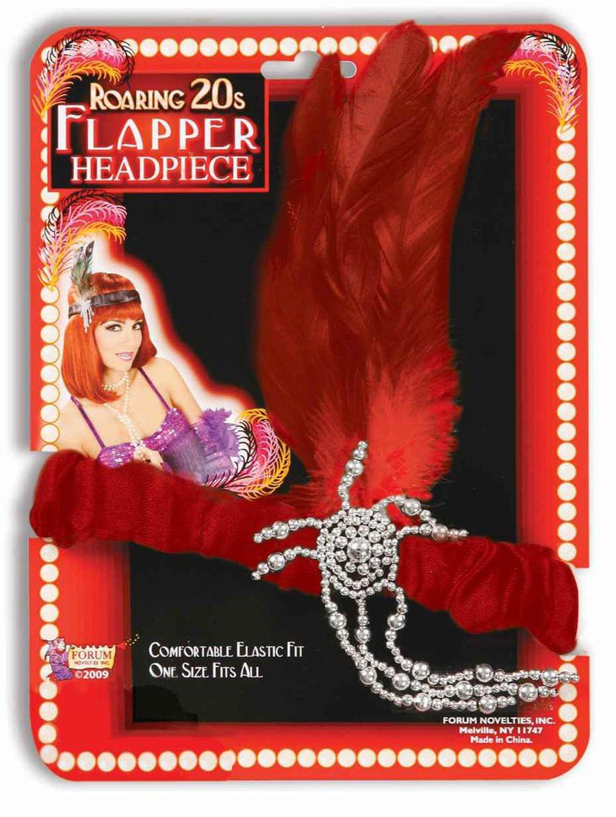 20's Charleston Flapper Red Adult Headpiece