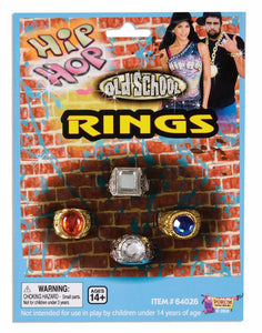 Hip Hop Bling Plastic 4 Piece Costume Ring Set