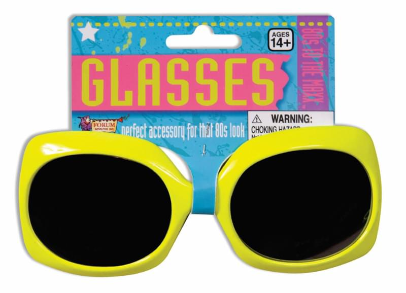 Yellow Neon Square Costume Glasses