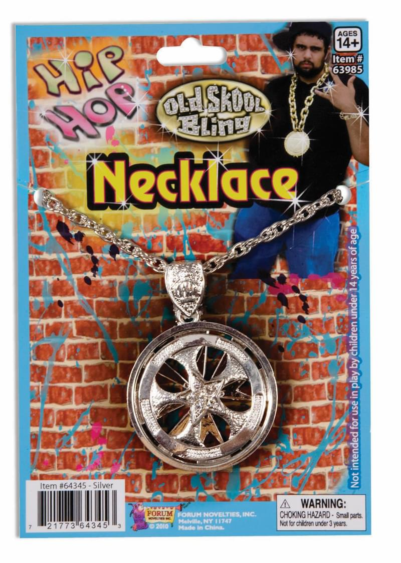 Hip Hop Silver Spinning Costume Necklace