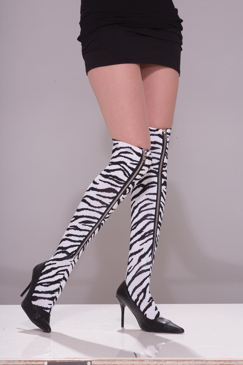 80's Punk Rock Zebra Zipper Thigh High Stocking Costume Leggings
