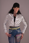 Hip Hop 70's 80's Quilted Silver Jacket Costume Adult