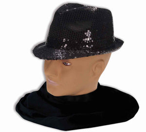 Black Sequin Fedora Adult Costume Hat