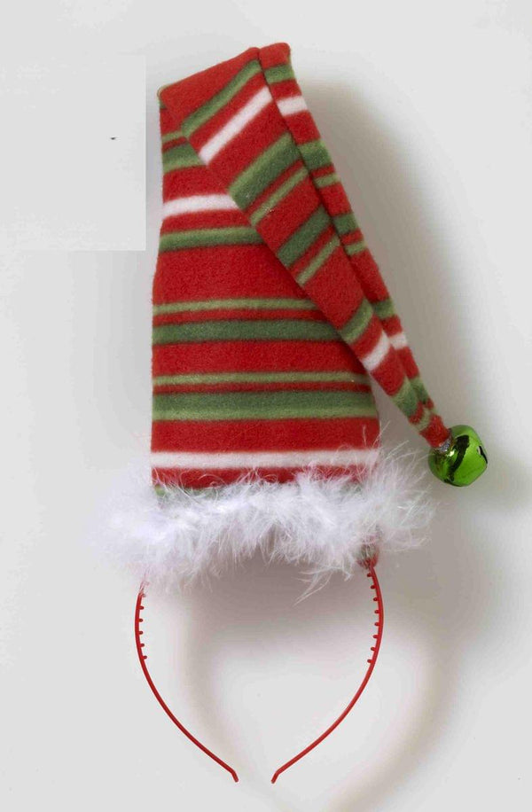 Striped Green White & Red Long Christmas Hat Costume Headband