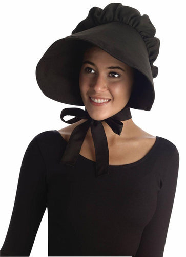Colonial Style Large Bonnet Costume Hat Adult: Black