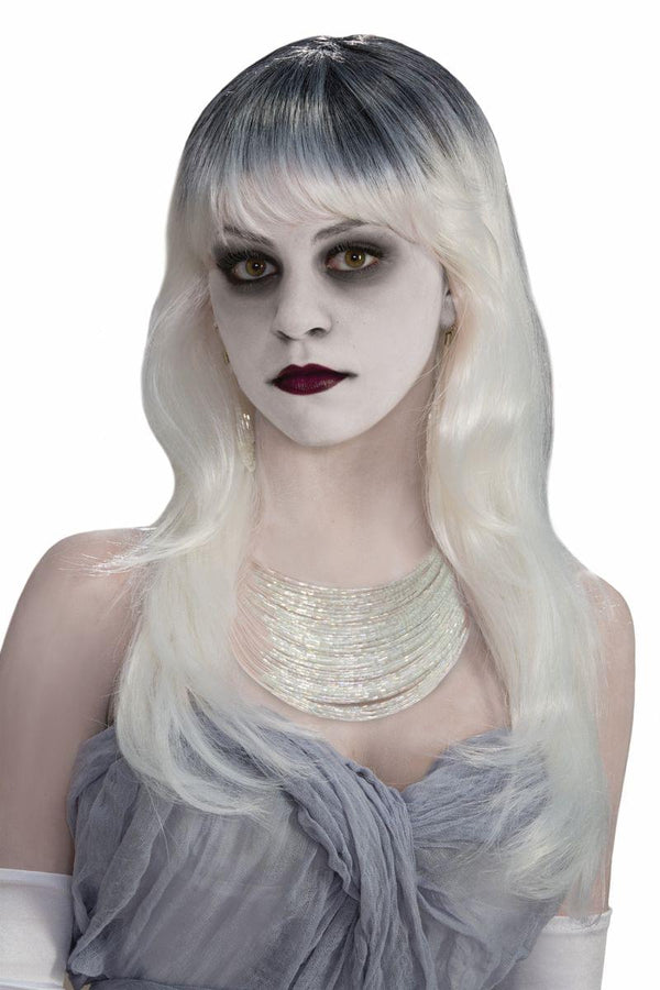Haunted Long White Grey Costume Wig Adult