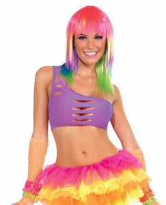 Club Candy Asymmetrical Cut Costume Bra Top Adult: Purple One Size