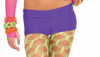 Club Candy Solid Neon Costume Booty Shorts Adult: Purple