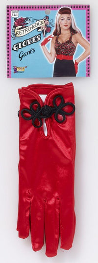 Retro Rock Red Satin Short Costume Gloves Adult