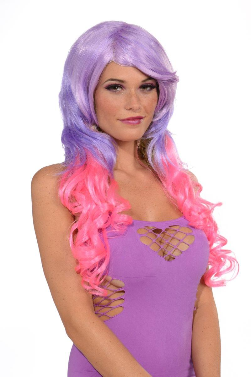 Long Costume Wig & Pony Tail Clip Set Adult - Hot Pink & Purple