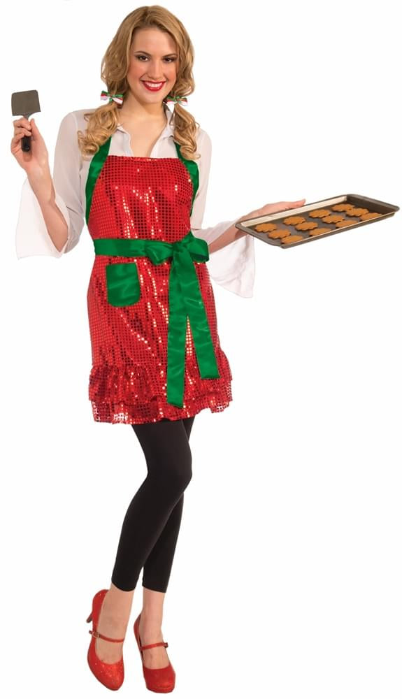 Christmas Sequin Holiday Apron: Red & Green