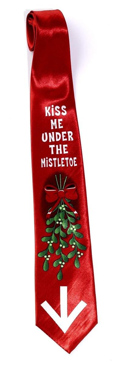 Kiss Me Under The Mistletoe Christmas Tie One Size Fits Most