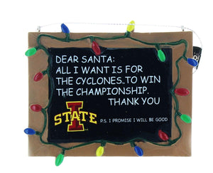NCAA Iowa State Cyclones Resin Chalkboard Sign Ornament