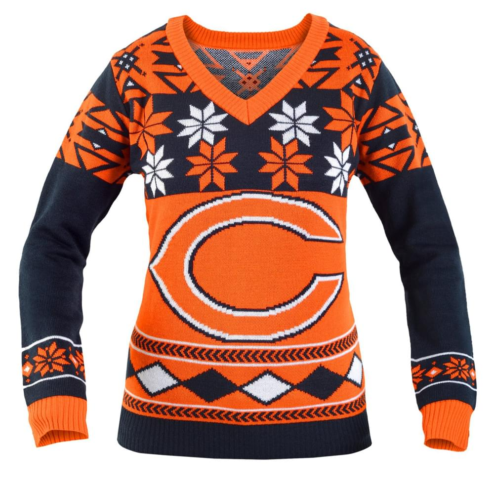 Chicago Bears NFL Women's Big Logo V Neck Ugly Christmas Sweater
