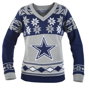 Dallas Cowboys NFL Women's Big Logo V-Neck Ugly Christmas Sweater Small