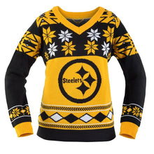 Load image into Gallery viewer, Pittsburgh Steelers NFL Women's Big Logo V-Neck Ugly Christmas Sweater Small