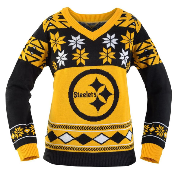 Pittsburgh Steelers NFL Women's Big Logo V-Neck Ugly Christmas Sweater