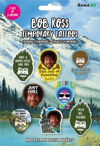 Bob Ross Temporary Tattoos | 2 Sets of 8 Tattoos