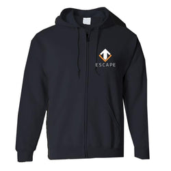 "Escape Gaming ""Escape"" Black Zip-Up Men's Hoodie, Large"