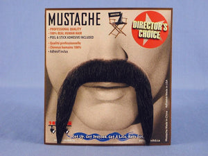 Spanish Amigo Black Real Human Hair Adult Costume Moustache