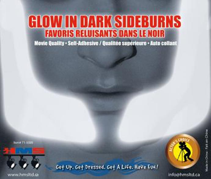 Glow In The Dark Costume Sideburns Adult