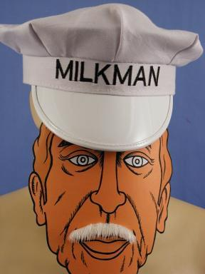 Milkman Hat With Mustache Costume Adult Costume
