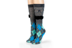 Charcoal Argyle with 3D Mustache Design Men's Novelty Crew Socks - 1 Pair